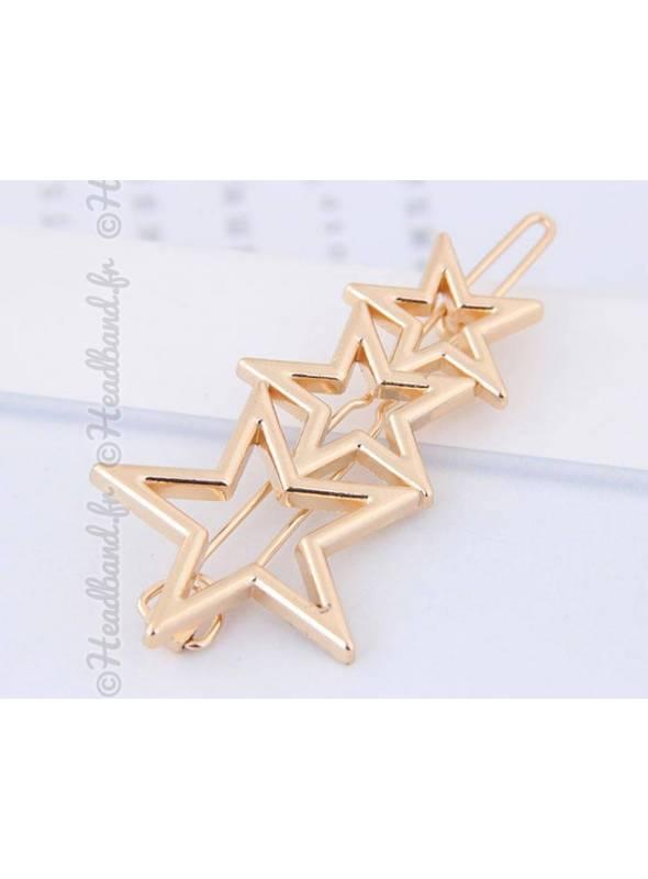 Barrette métal 3 étoiles doré