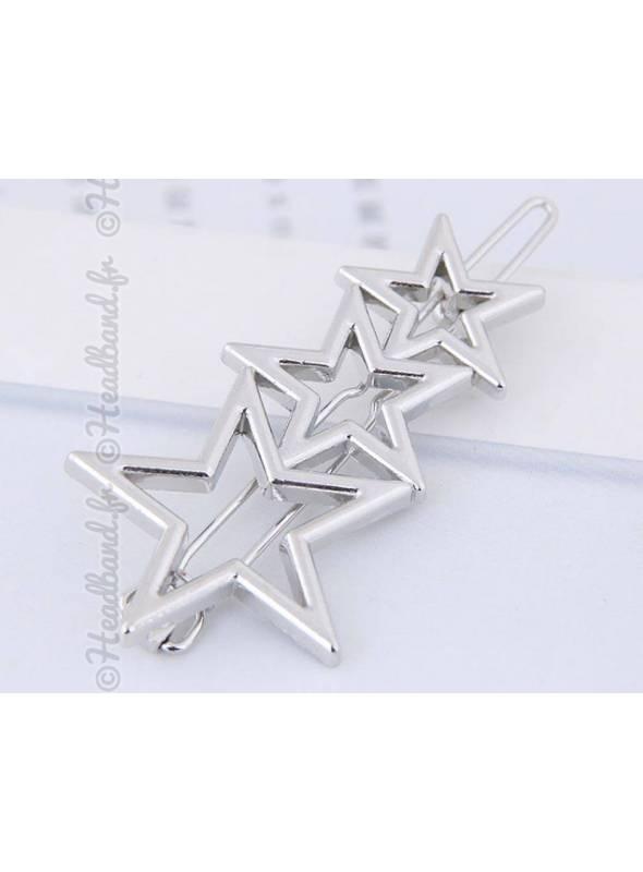 Barrette métal 3 étoiles argenté