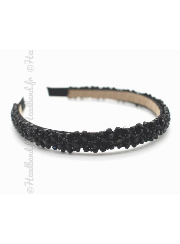 Serre-tête élégant cristaux noir