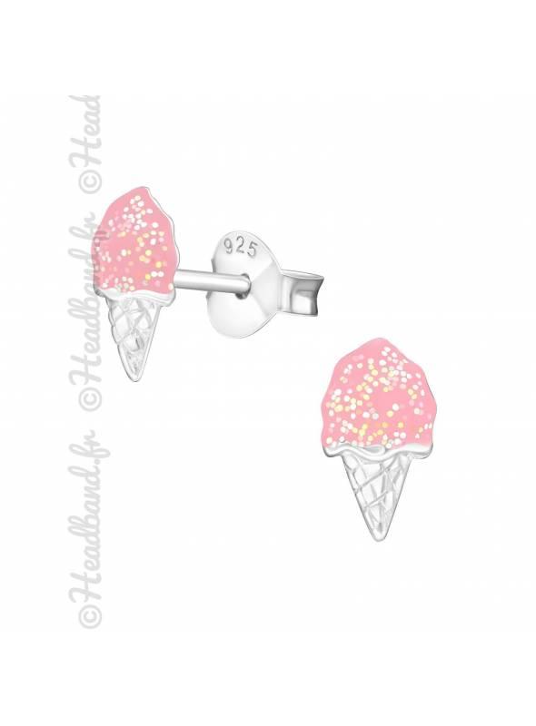 Clous d'oreilles glace glitter fille argent
