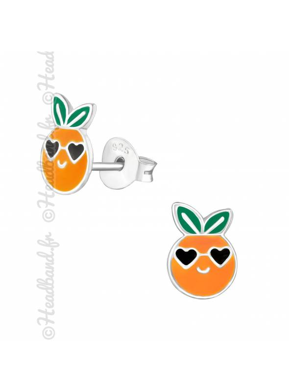 Clous d'oreilles orange strass fille argent