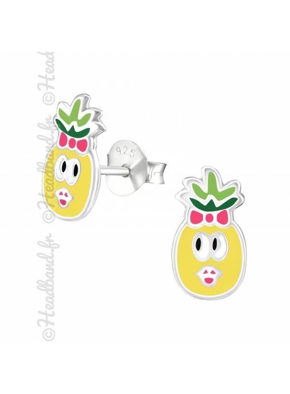 Clous d'oreilles ananas coloré enfant argent
