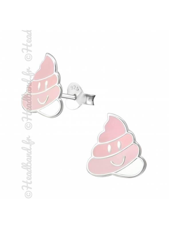Clous d'oreilles emoji crotte rose argent