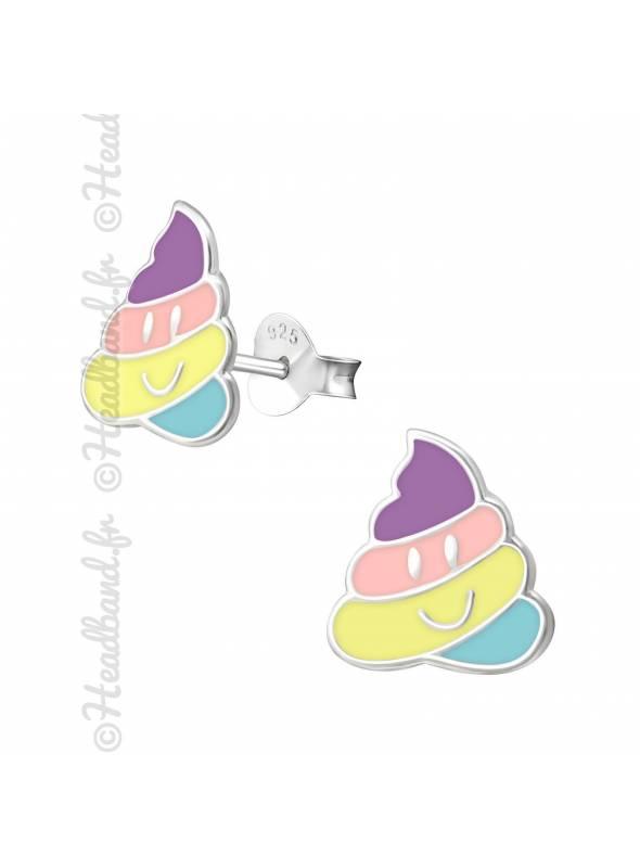 Clous d'oreilles emoji pastel fille argent