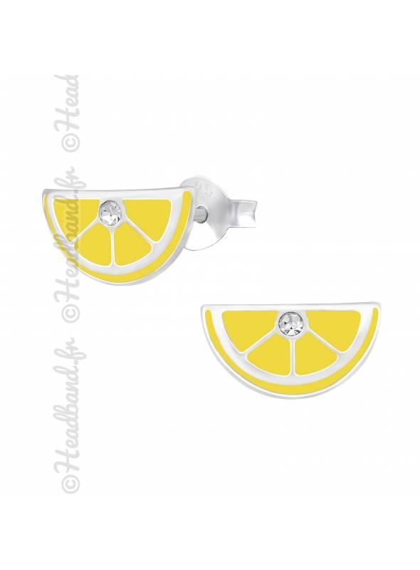 Clous d'oreilles tranche citron argent