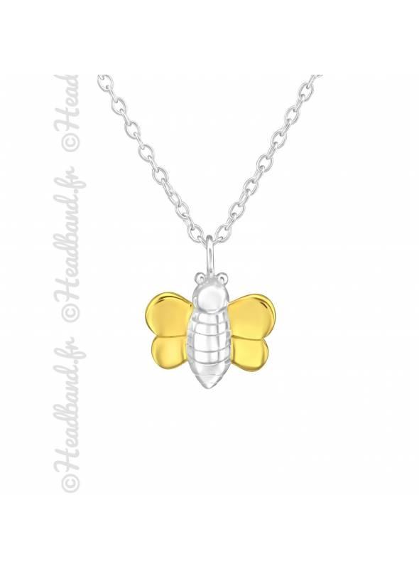 Collier abeille plaqué or argent 925