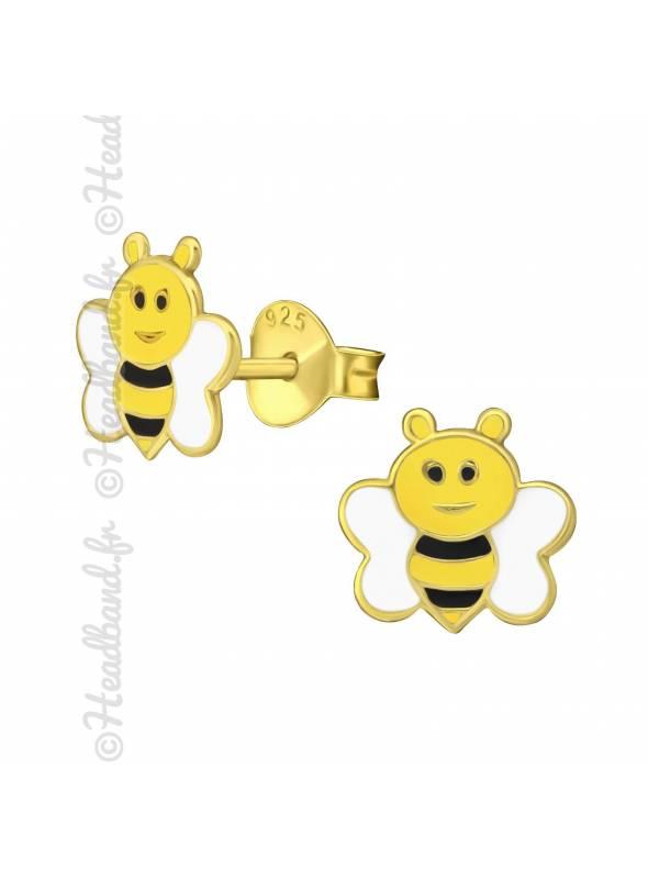 Clous d'oreilles abeille plaqué or