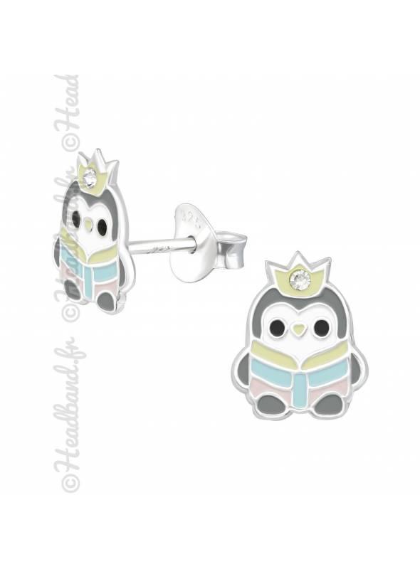 Clous d'oreilles pingouin gris strass argent