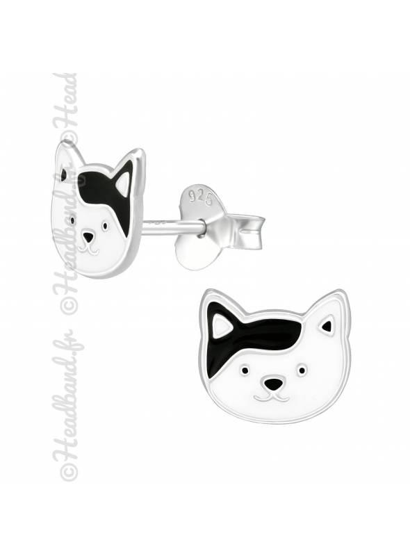 Clous d'oreilles chat noir et blanc argent