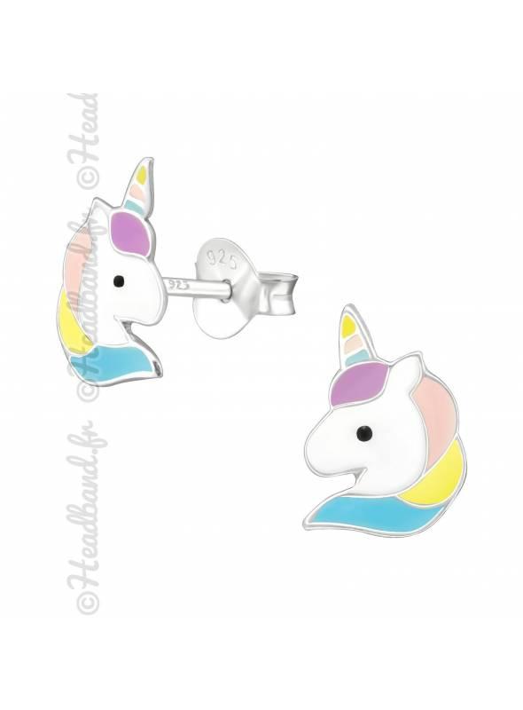 Clous d'oreilles unicorn colorée argent