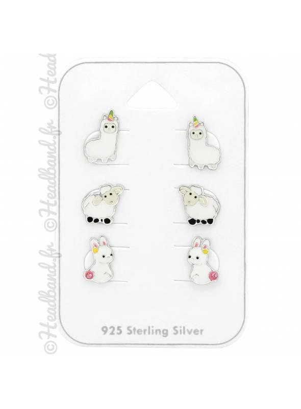 3 clous d'oreilles lama mouton lapin argent