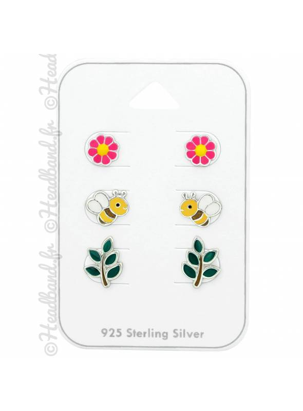 3 clous d'oreilles abeille feuille fleur argent