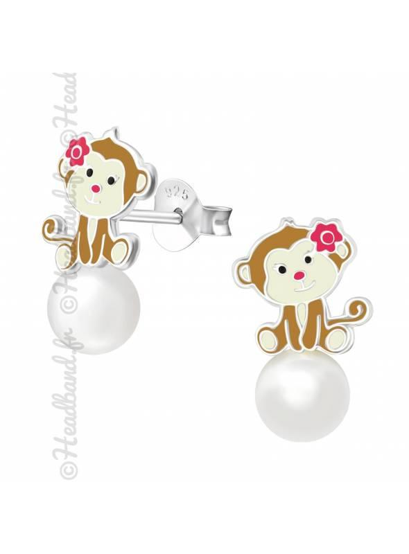 Clous d'oreilles singe perle blanche argent