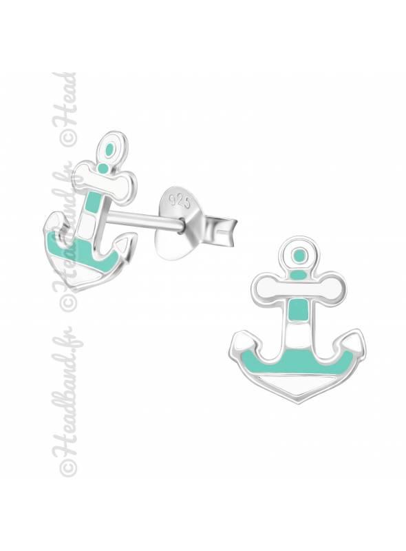Clous d'oreilles ancre marine verte argent