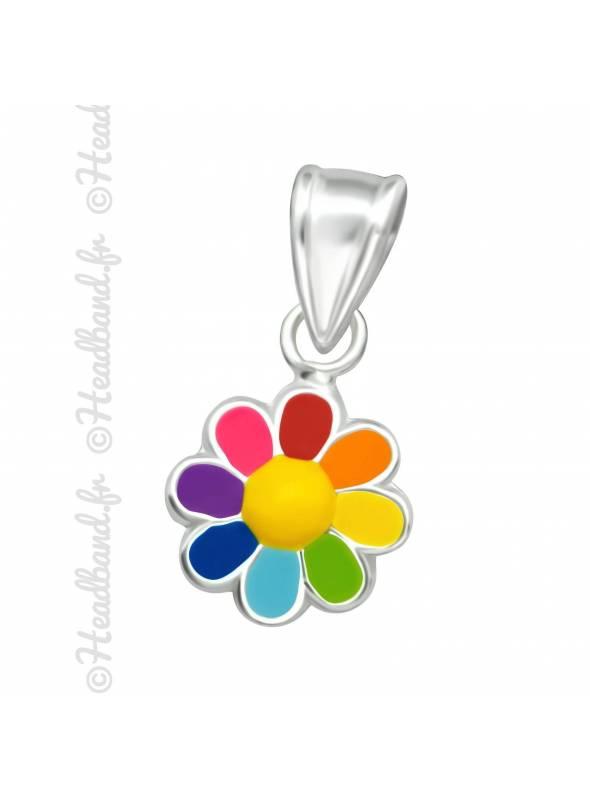 Pendentif enfant fleur multicolore argent
