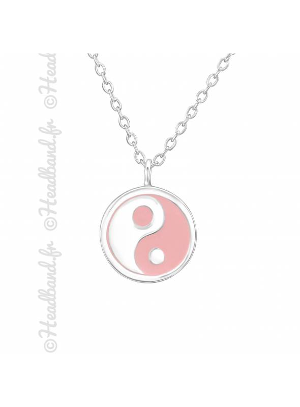 Collier yin yang rose pastel argent 925