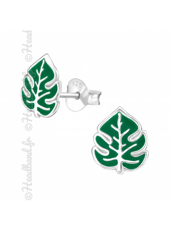 Clous d'oreilles feuille palmier verte argent