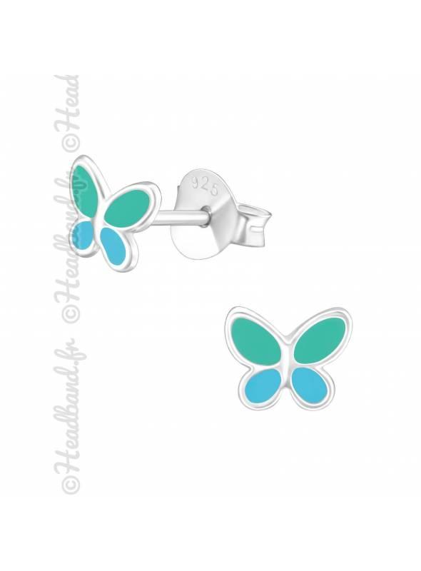 Clous d'oreilles papillon bleu et vert argent