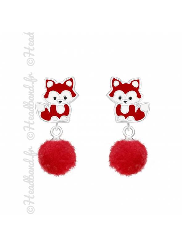 Boucles enfant renard pompon rouge argent