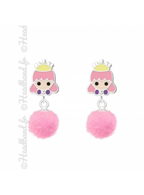 Clous d'oreille princesse pompon rose argent