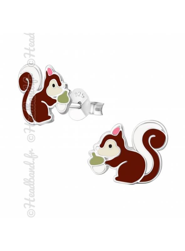 Clous d'oreille écureuil argent