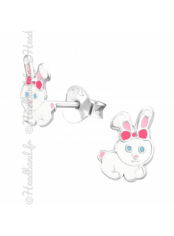 Clous d'oreille enfant lapin blanc argent