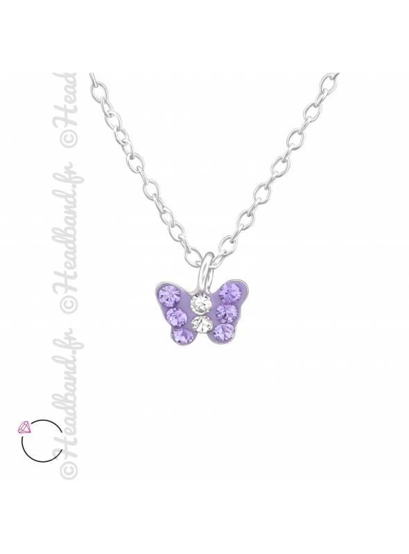 Collier papillon violet avec cristaux Swarovski