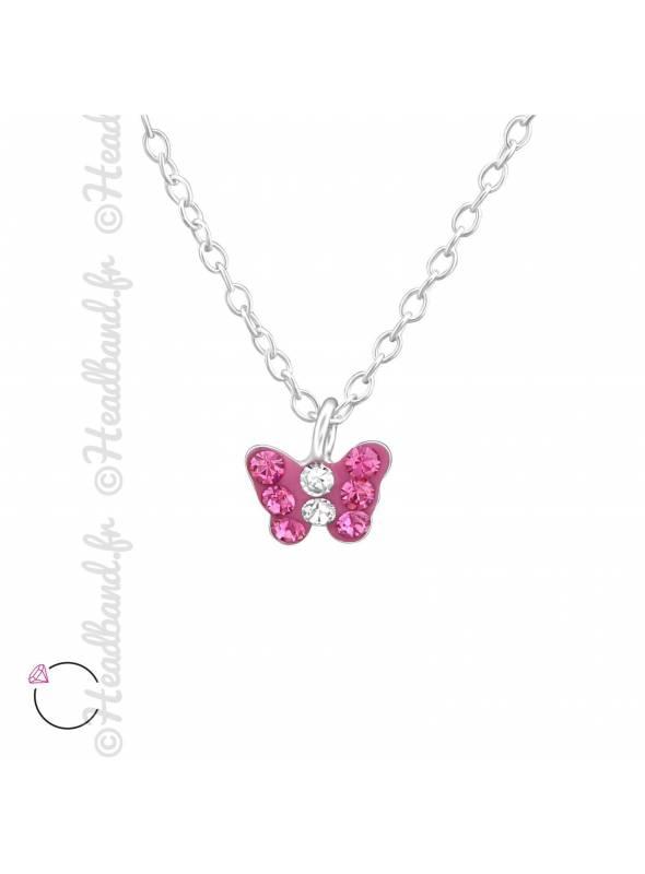 Collier papillon fushia avec cristaux Swarovski