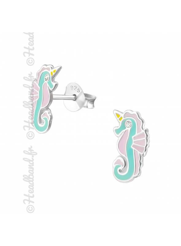 Clous d'oreille hippocampe pastel argent