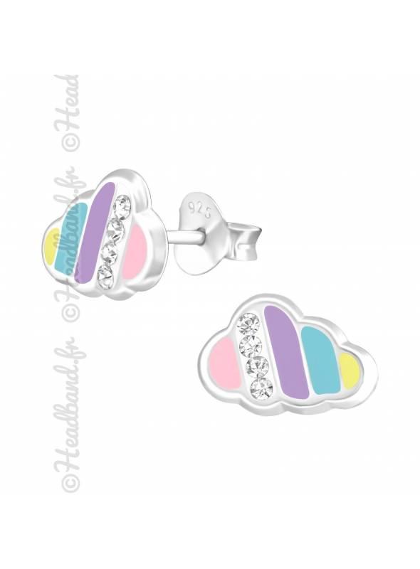 Boucles d'oreille nuage pastel strass argent