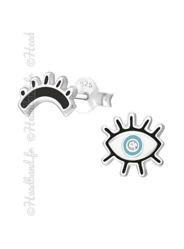 Boucles d'oreille oeil argent 925