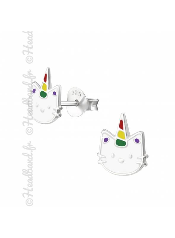 Boucles d'oreille chat avec corne argent