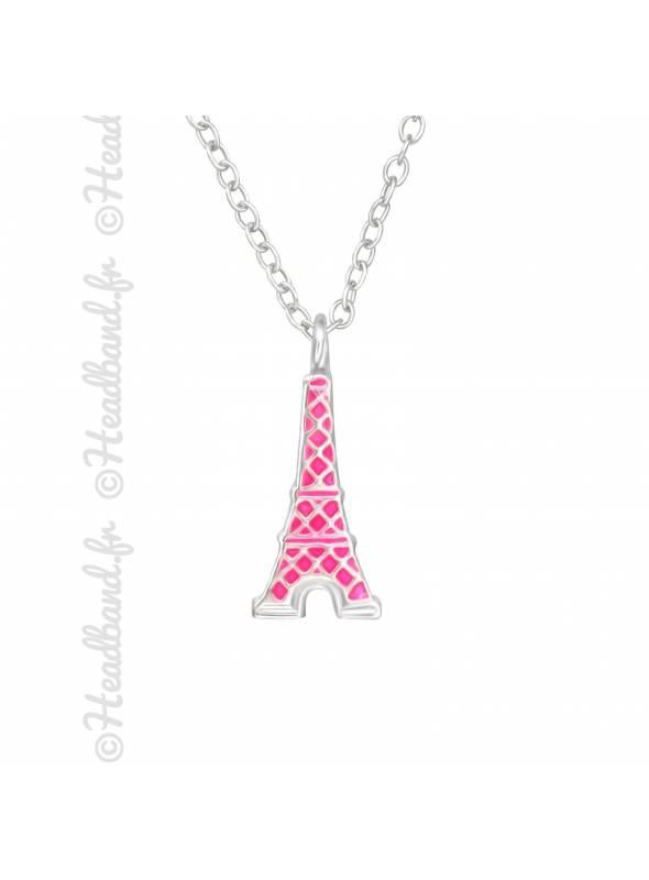 Collier enfant tour Eiffel rose argent 925