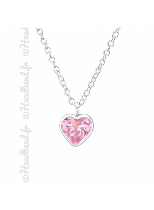 Collier enfant coeur zirconium rose argent