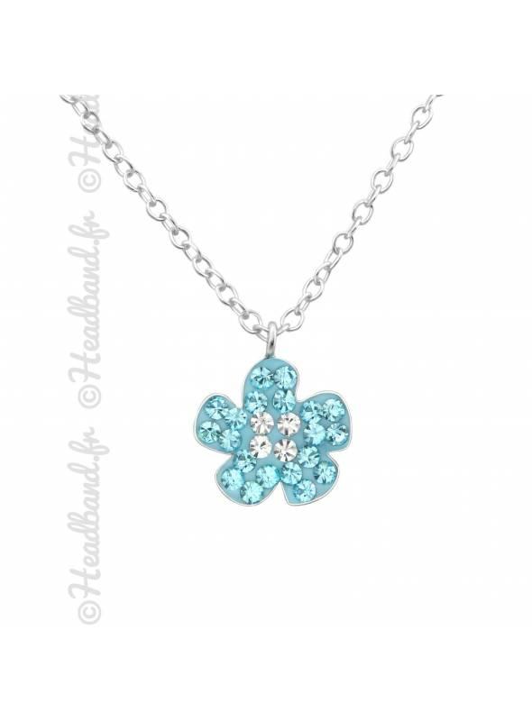 Collier enfant fleur strass bleu argent 925