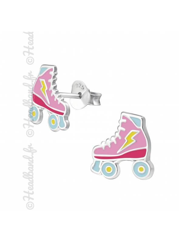 Boucles d'oreille patin roulette argent 925