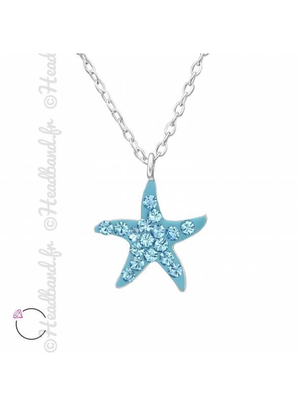 Collier étoile bleue avec cristaux Swarovski