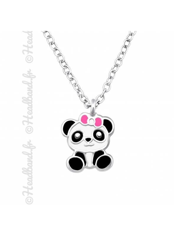 Collier enfant panda argent massif