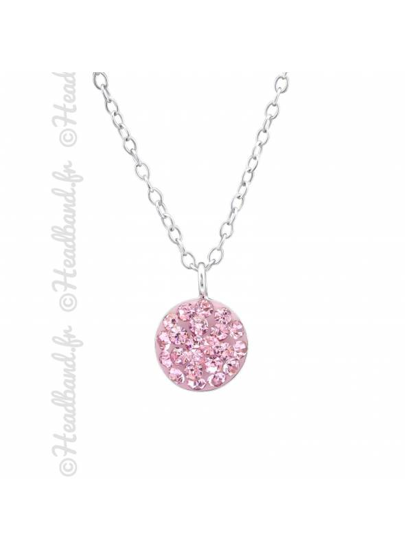 Collier rond strass cristaux rose argent 925