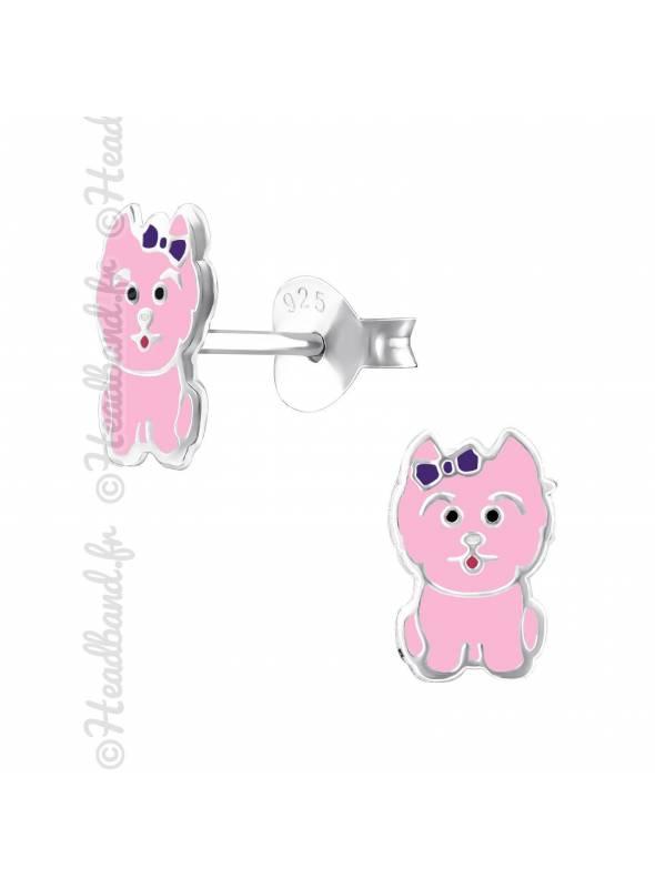 Boucles d'oreille fille chien rose argent