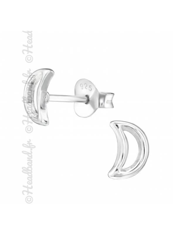 Boucles d'oreille lune enfant argent 925