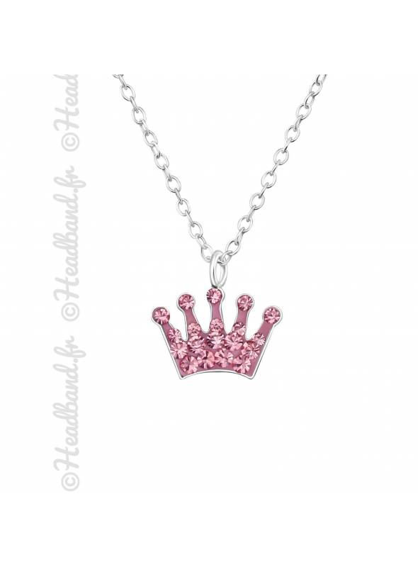 Collier couronne strass rose argent 925
