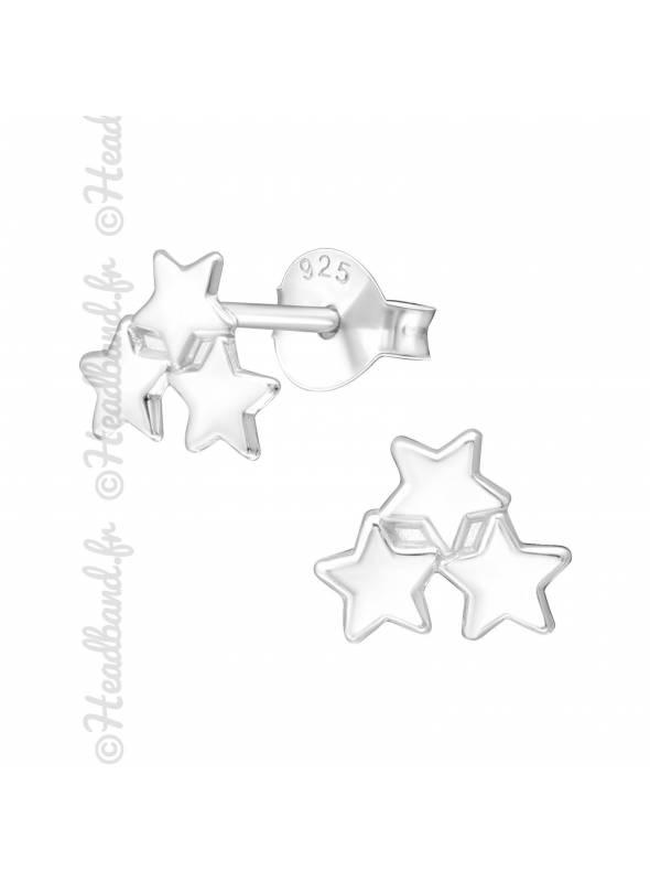 Boucles d'oreille 3 étoiles argent 925