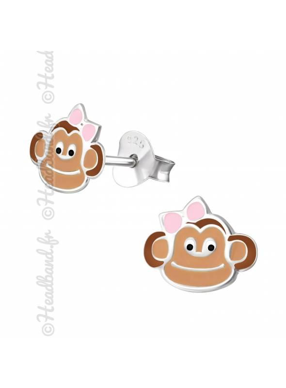 Boucles d'oreille singe argent