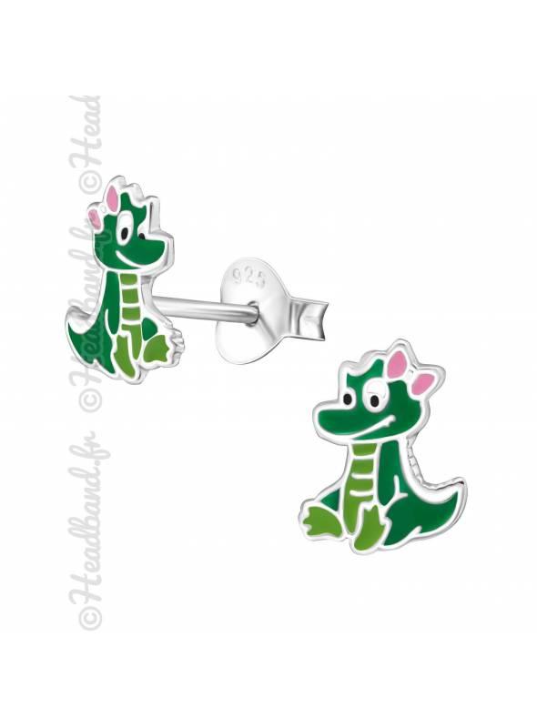 Boucles d'oreille crocodile enfant argent