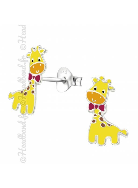 Clous d'oreille enfant girafe noeud argent
