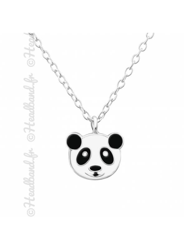 Collier fille motif panda argent 925