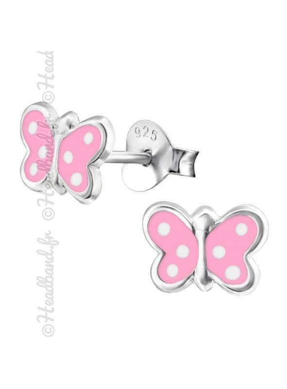 Boucles d'oreille papillon pois argent