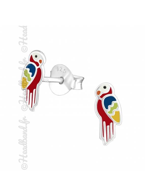 Boucles d'oreille perroquet rouge argent