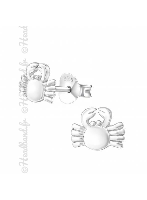 Boucles d'oreille enfant crabe argent